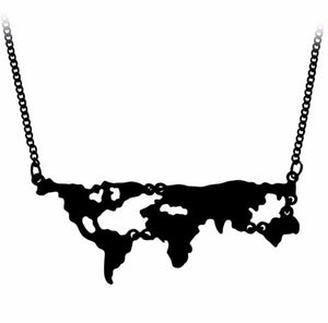 Globetrotter - Black - Miniature World Map Dainty Necklace