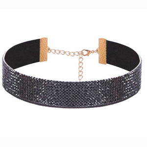 Grey Diamond - Studded Shiny Choker