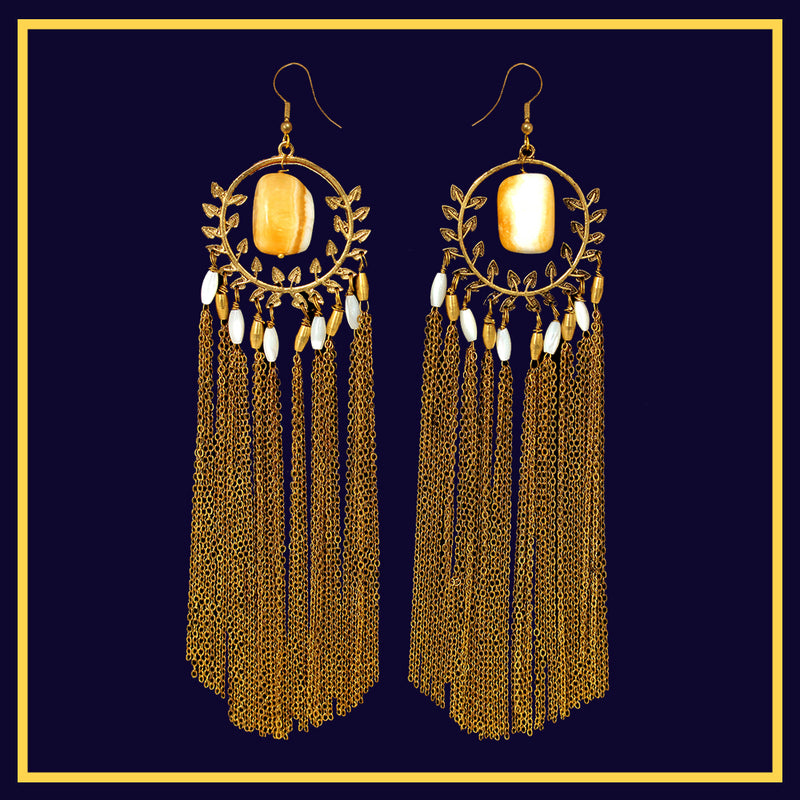 Honey Drops of Venus - Long Golden Metal Tassel Earrings With Stone