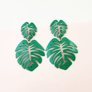 Hot Tropics-Green - Metal Leaf Earrings