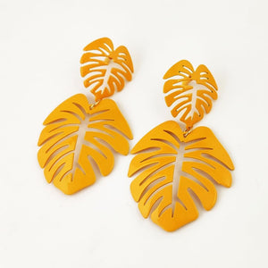 Hot Tropics- Yellow - Metal Leaf Earrings