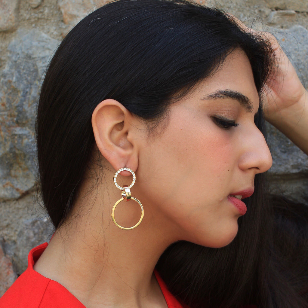 Julia - Circular Dainty Studded Earrings