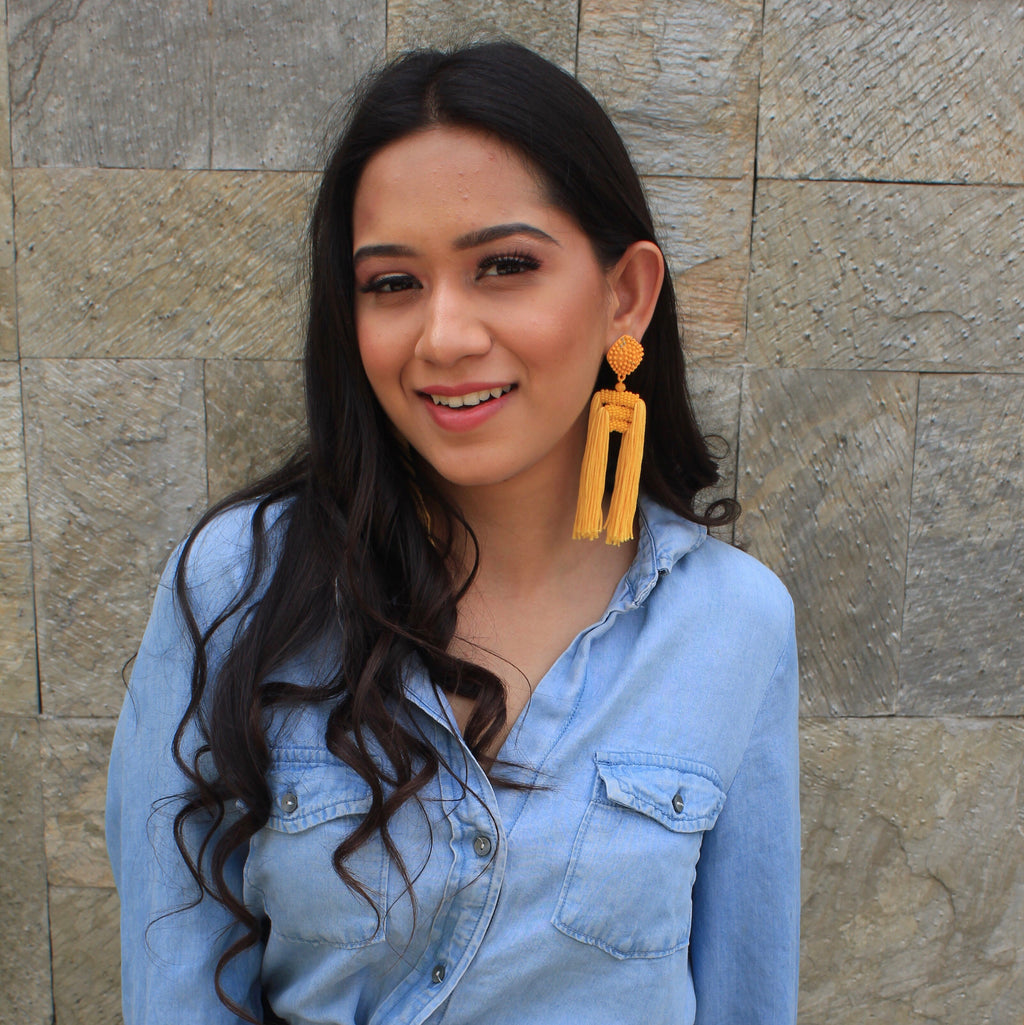 Tropical Mango - Tassel Earrings