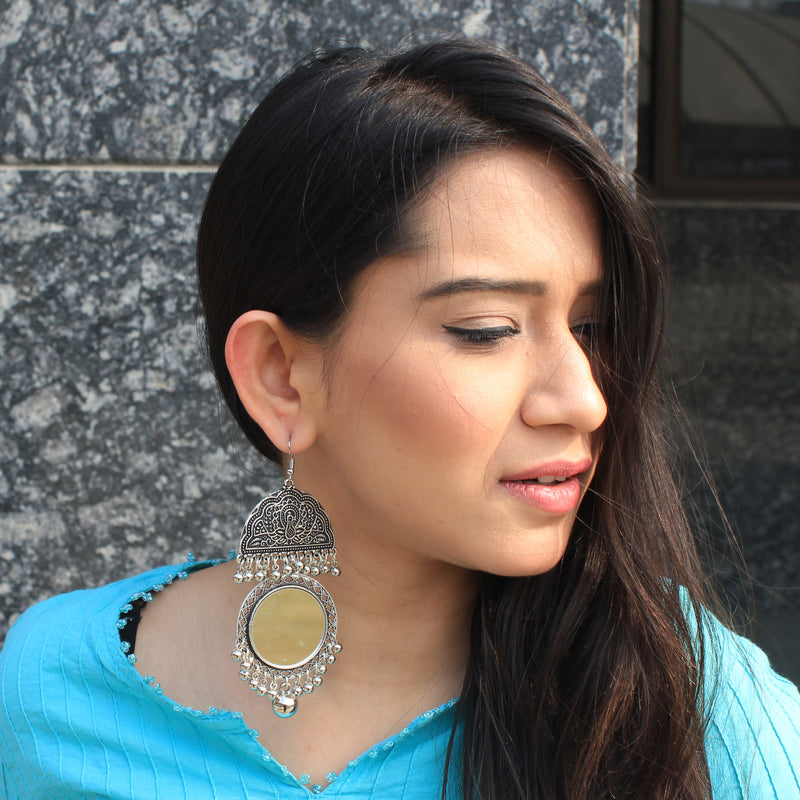 Khanak - Mirror Silver Earrings