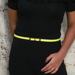 Lime Light - Sleek Neon Belt With Metallic Bow Buckle