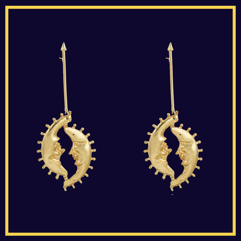 Honey Moon - Golden Moon Dainty Earrings