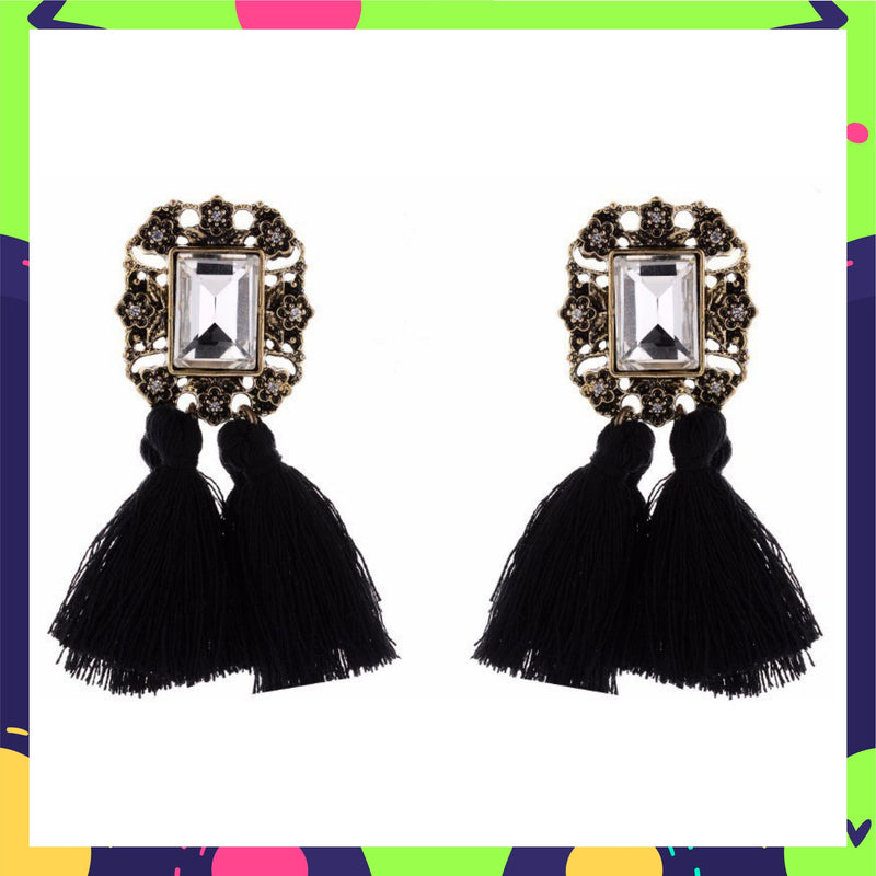 Mirror On The Wall - Black - Tassel Earrings with Crystal Stone