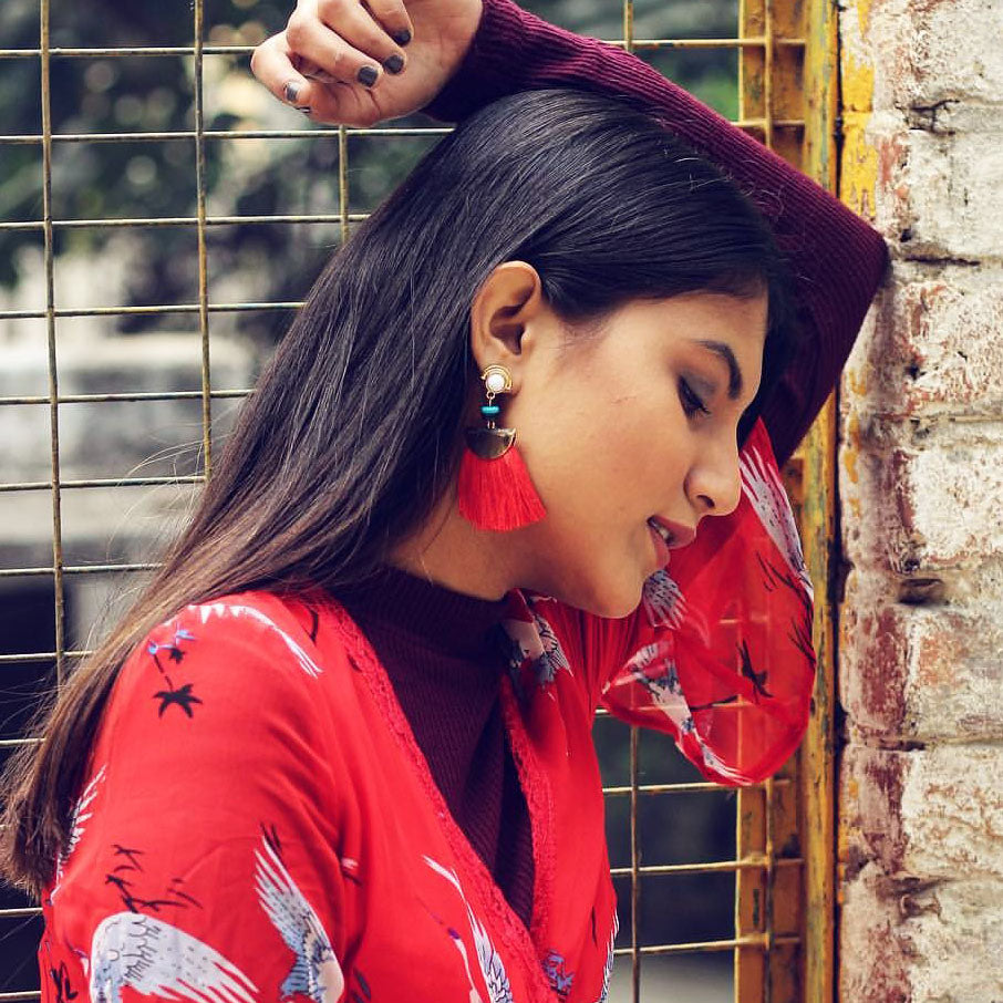Cherry Jain In Knick Knack Nook Chica - Red - Earrings - Beaded Tassel Earrings