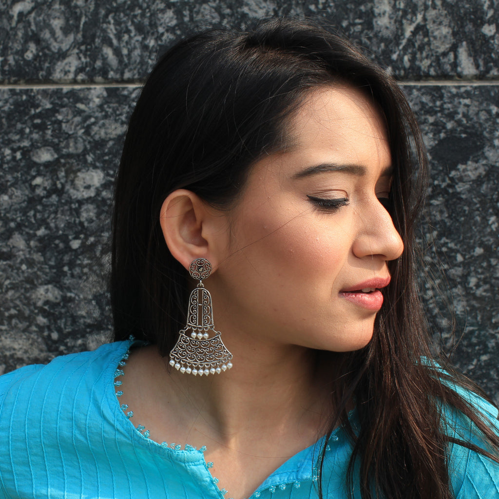 Mumtaz - Oxidized Silver Earrings