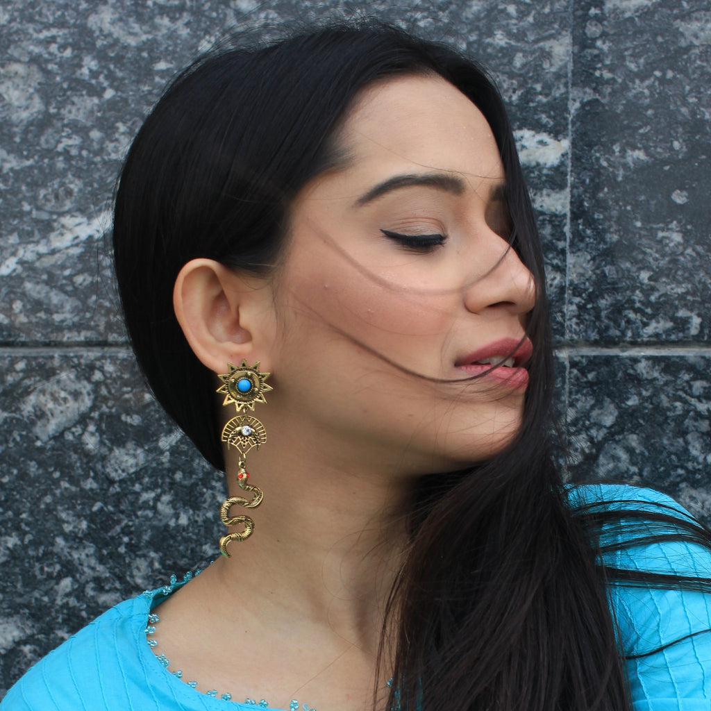 Nazaakat - Blue - Stone And Golden Metal Earrings
