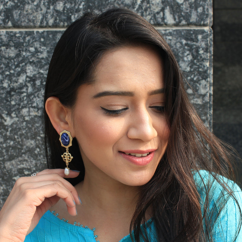 Neelmani- Blue stone Earrings