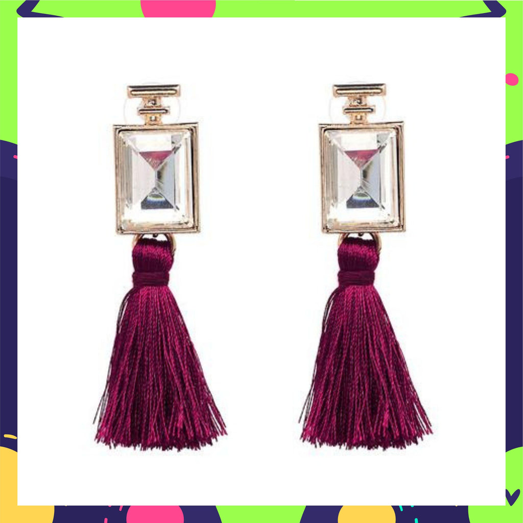 Upalina In Knick Knack Nook Opera Earrings - Wine - Crystal and Tassel Earrings