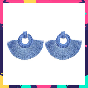 Wild Plumage- Pastel Blue - Tassel Earrings