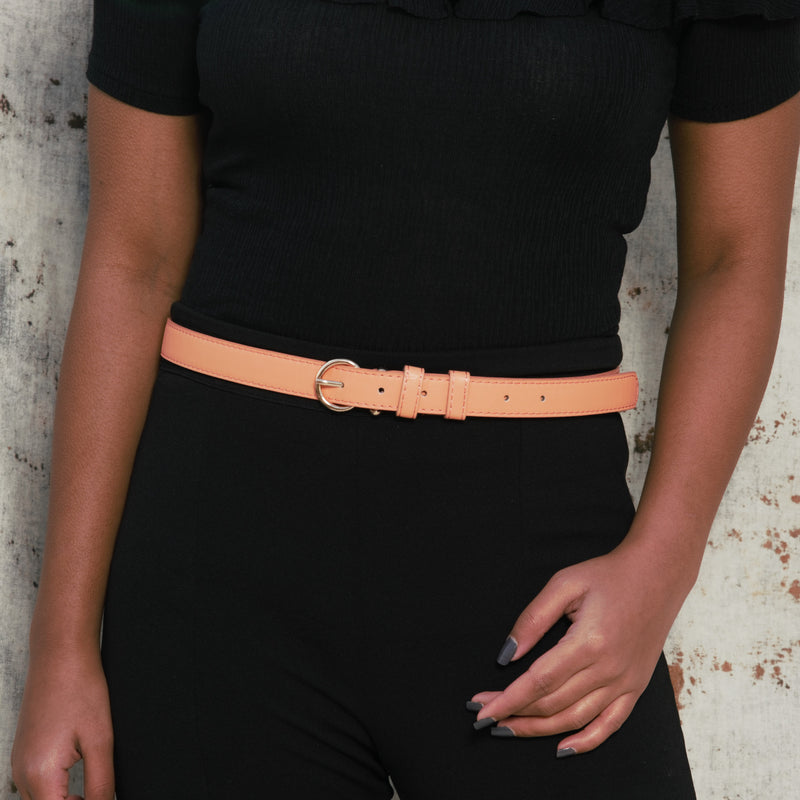 Peach Punch - Fun Popping Belt With Oval Metallic Buckle