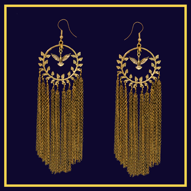 Rise of the Phoenix - Golden metal earrings with metal chain tassels
