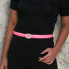 Fuschia Feast Belt - Fun Popping Belt With Metal Beaded Buckle
