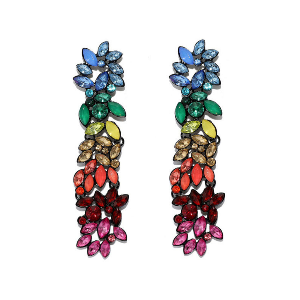 Pride Earrings - Multicolored Crystal Floral Earrings