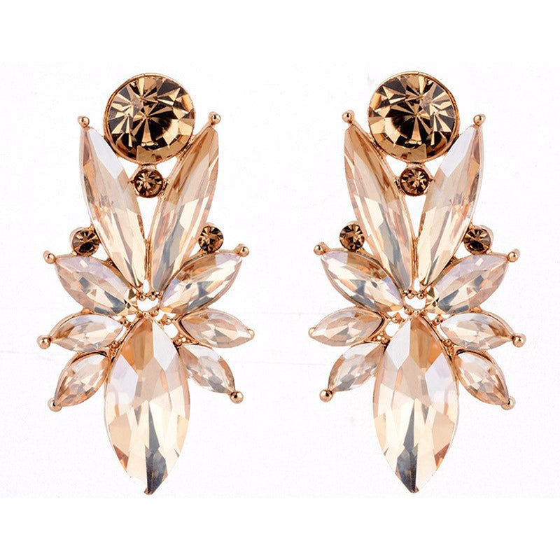 Retro Diva - Golden Crystal Earrings