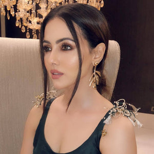 Sana Khan's Gold Leaf - Metal Earrings