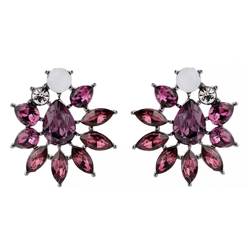 Sparkling Wine - Delicate Purple Crystal Earrings