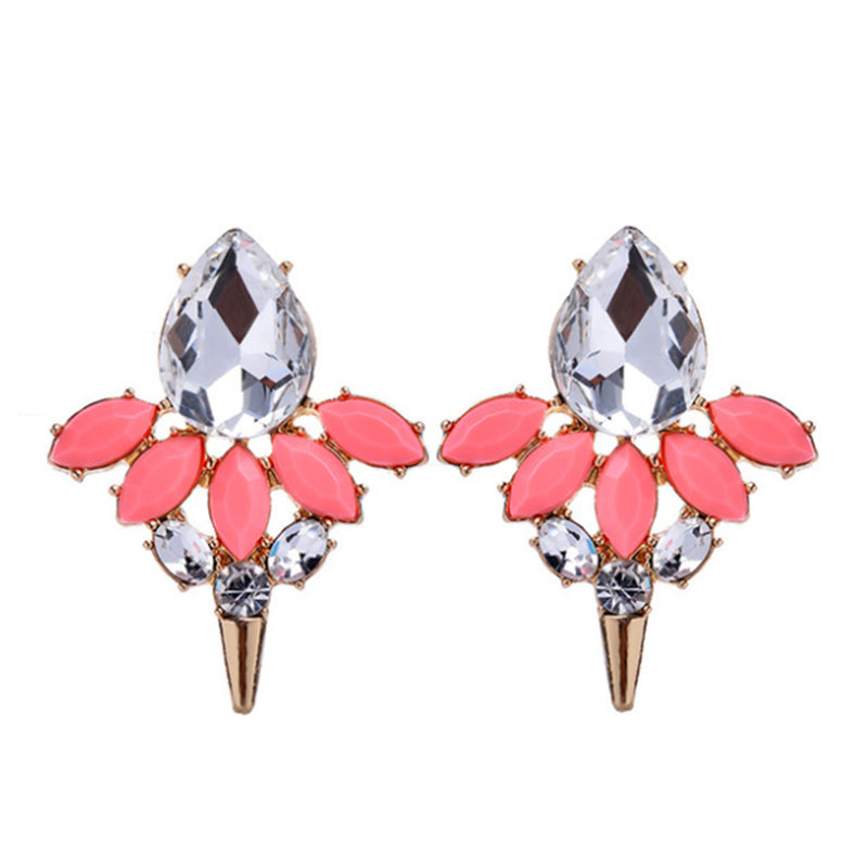 Speared - Coral - Crystal and Stone Earrings