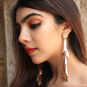 Shimmery Shuttles Rose Gold - Holographic Long Sequin Stud Earrings