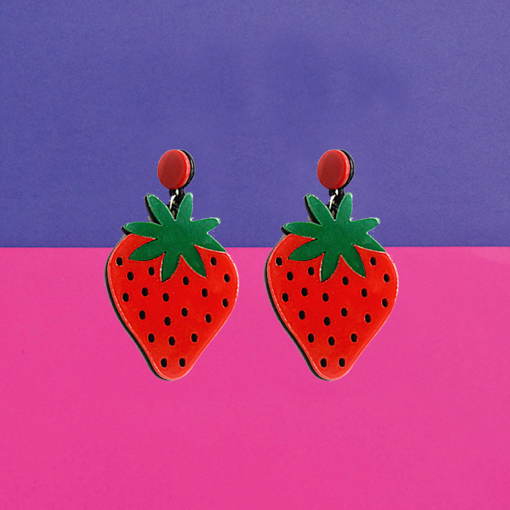 Very Berry - Acrylic Red Strawberry Earrings