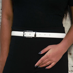 White Wonder - Fun Classic Belt With Metal Buckle