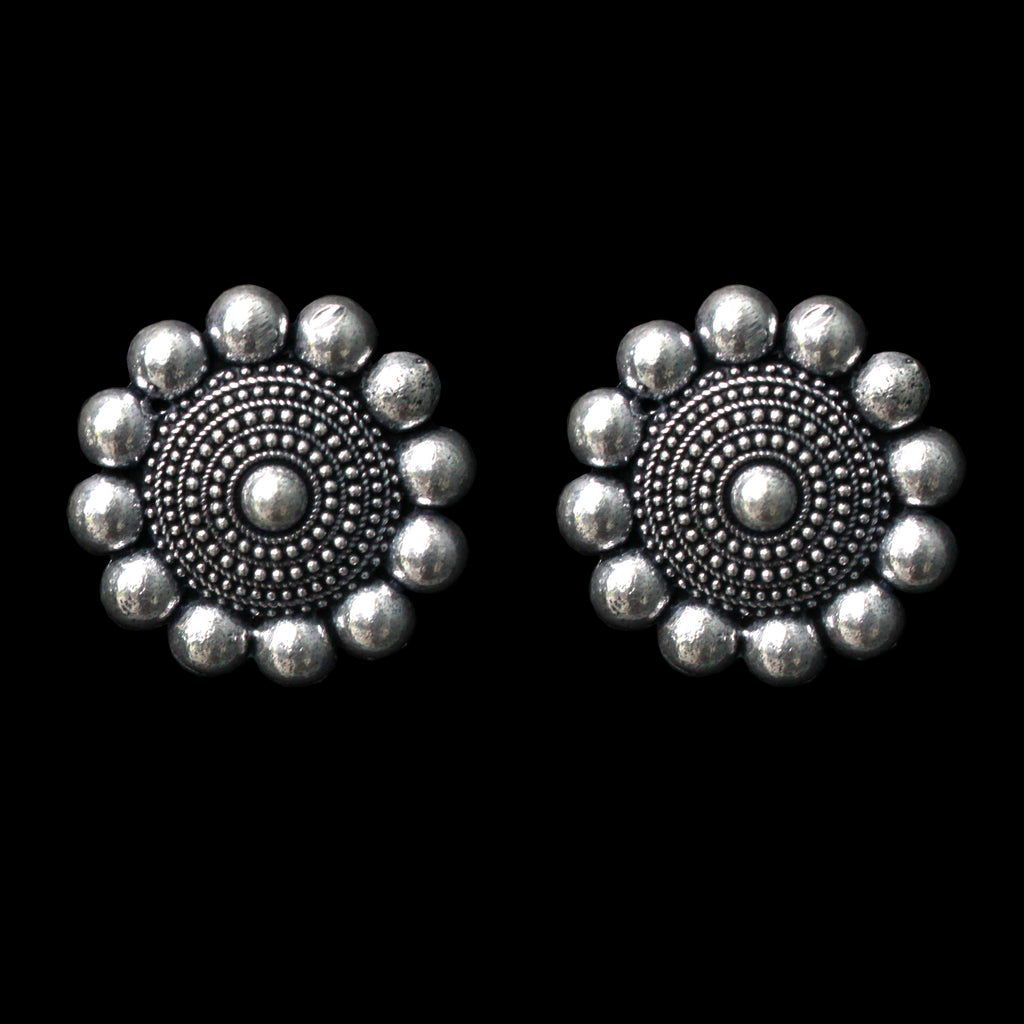 Zareen Earrings - German Silver Floral Stud Earrings