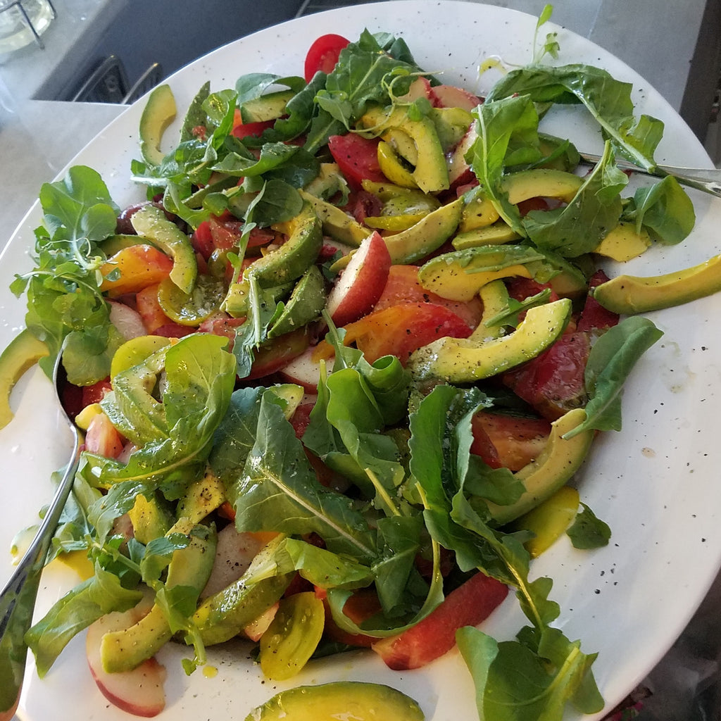 Heirloom Tomato Salad with Nectarines, Avocado and Arugula