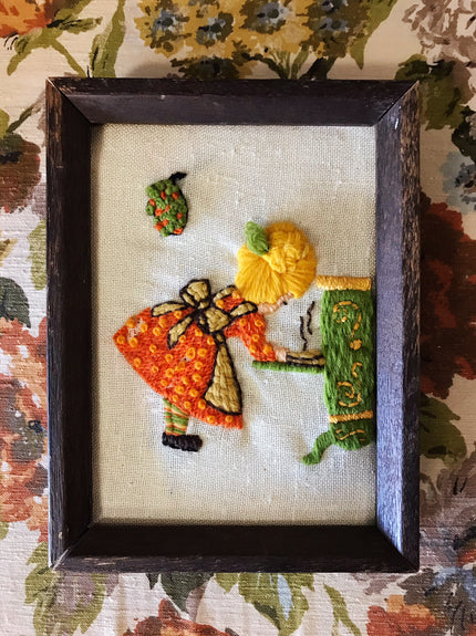 "handmade embroidery piece - ""baking pie"""