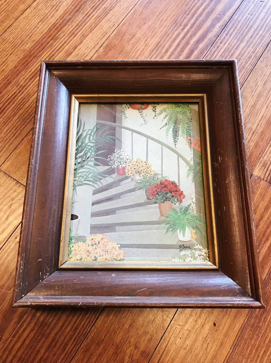 "framed print - ""plants lining a staircase"""