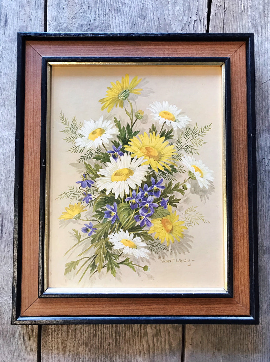 large framed floral artwork