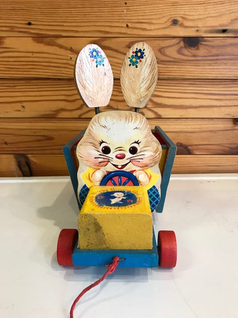 """bizzy bunny cart"" fisher price pull-toy"
