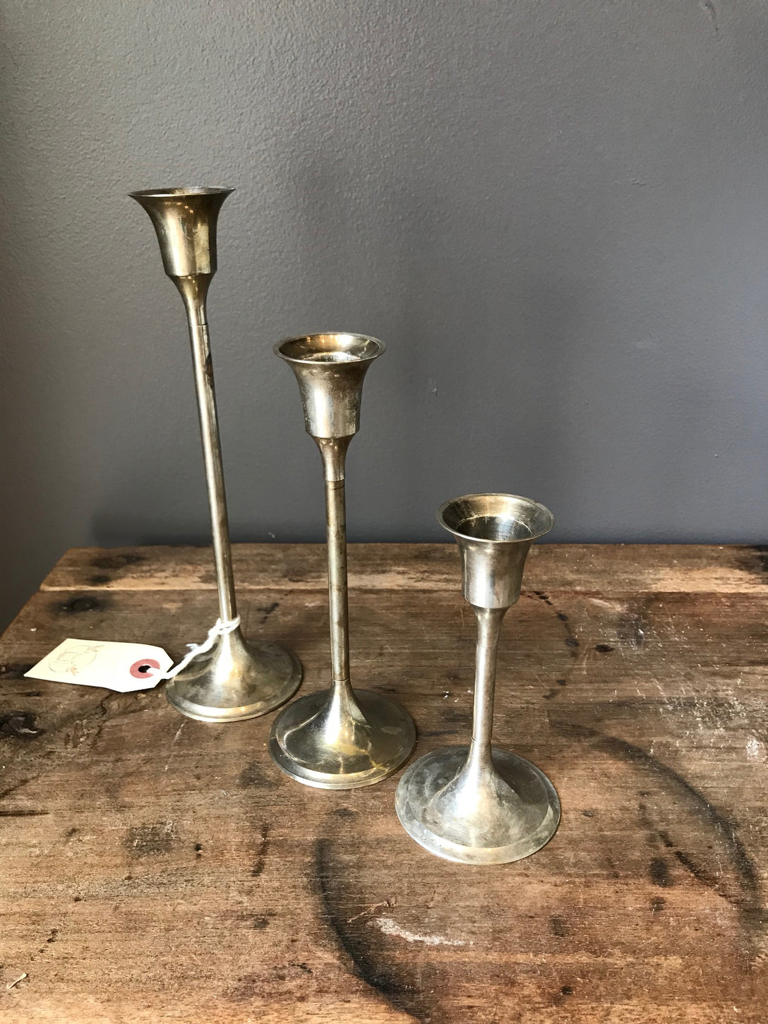 set of 3 silver candlesticks