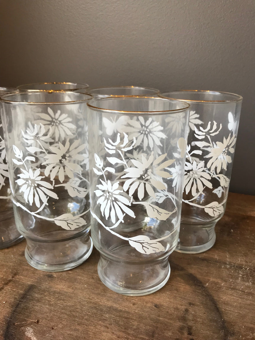 floral glasses with gold rim