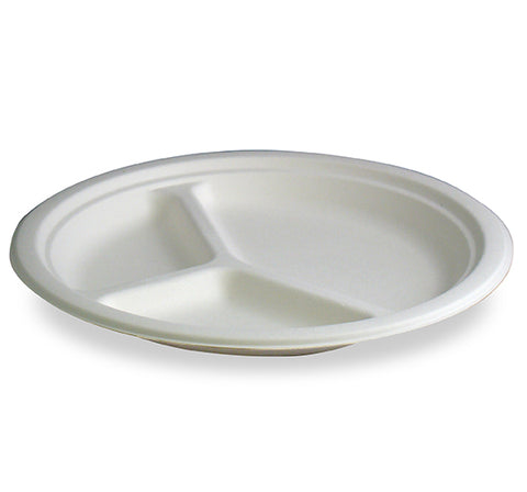 "Stalkmarket Compostable 9"" 3 Compartment Plate - case - Thebestpartydeals"