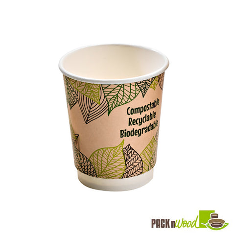 10oz double walled compostable paper cup - 500 per case