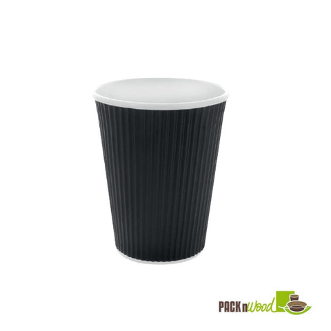 4oz black rippled paper cup - 1000 per case - Thebestpartydeals