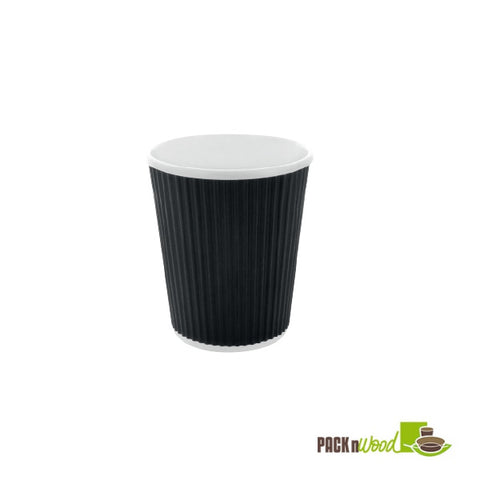 12oz black rippled paper cup - 500 per case