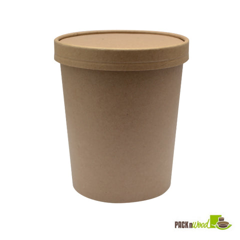 32oz Kraft paper soup container with vented lid - 250 combo - Thebestpartydeals