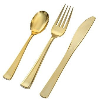 Golden Secrets, Heavy Gold 3 pc Cutlery Combo, 384 pcs total - Thebestpartydeals