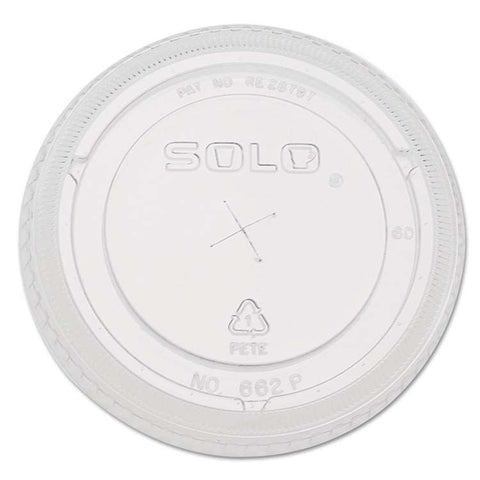 Dart Solo 662TS 12 oz. Clear Plastic Lid with Straw Slot, 100 per package