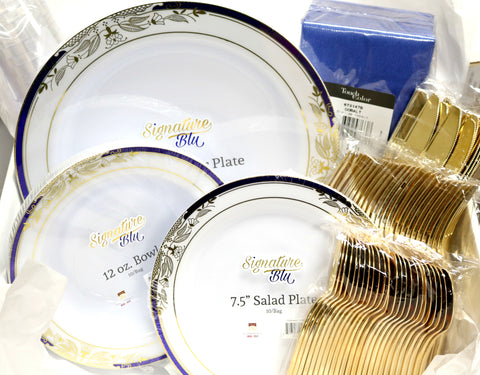 Signature Blu Collection, Complete Disposable Place Setting for 10 - Thebestpartydeals