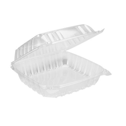 Dart C90PST1 8 5/16 inch x 8 5/16 inch x 3 inch ClearSeal Hinged Lid Plastic Container, 125 per package