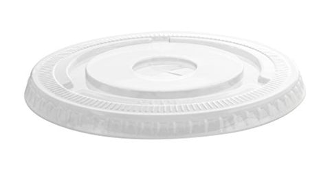 PET flat lid w/ no slot - fits 12-24oz drinking cup - 100 per package - Thebestpartydeals