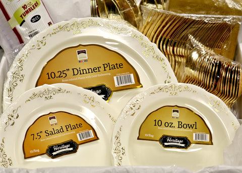 Heritage Collection, Complete Disposable Place Setting for 10 - Thebestpartydeals
