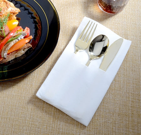 3 PC Pocket Napkin Set w/ Gold F/S/K - Case - Thebestpartydeals
