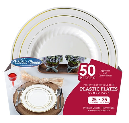 "ROUND FOIL TRIM PLATES COMBO, 7"" & 10"" BONE/GOLD - Thebestpartydeals"