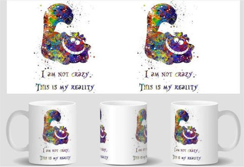 Cheshire Cat Quote Alice in Wonderland mugs  cold hot heat reveal magic transforming coffee mug heat changing color Tea